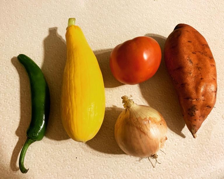 jalapeno, squash, tomato, sweet onion, sweet potato