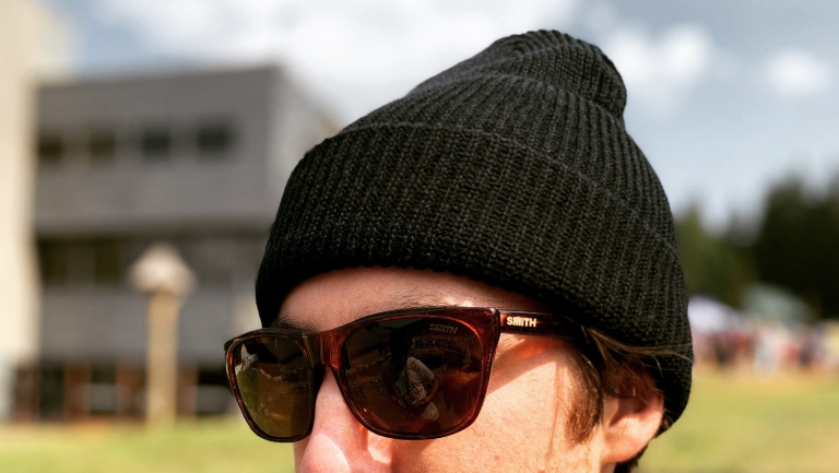 bean and sunglasses