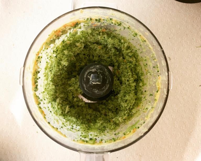 Broccoli in a food processor