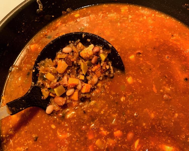 Finished plant- based chili recipe