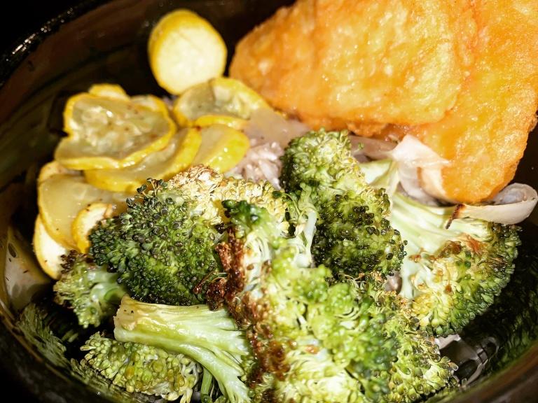Broccoli, Squash, onion, and lemon risotto