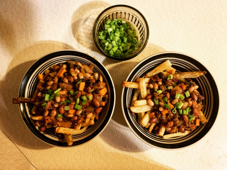 plant-based chili fries using fries made in the air-fryer