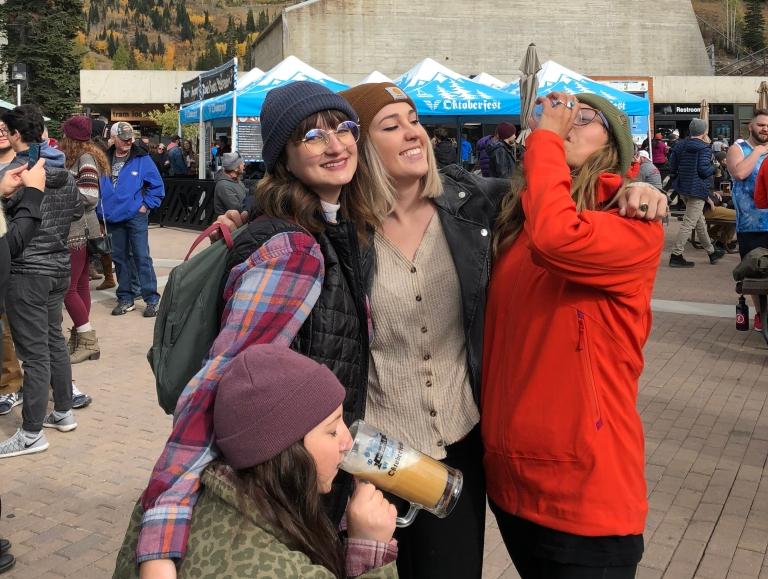 friends at Oktoberfest at Snowbird resort in Utah