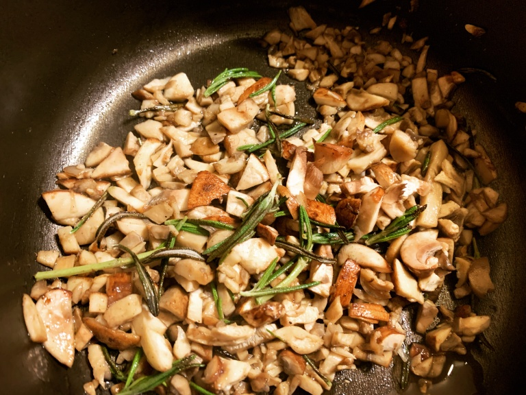 mushrooms and rosemary for vegan gravy