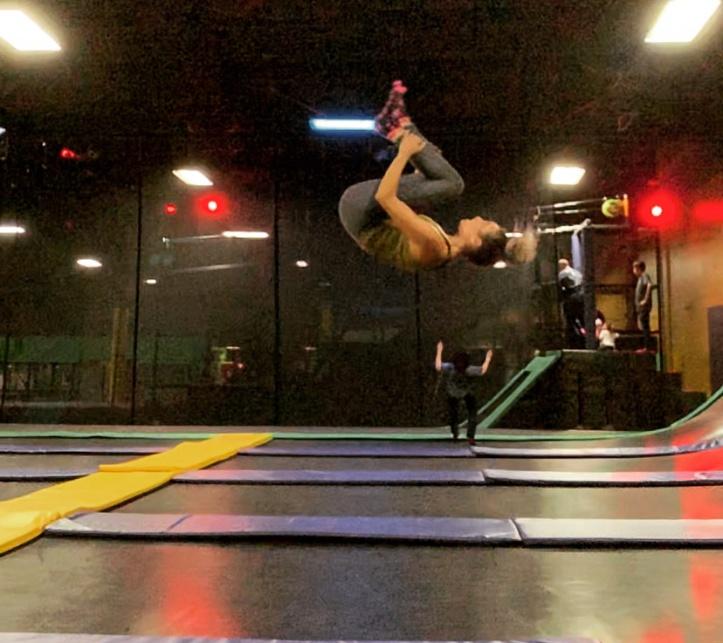 backflipping on a trampline