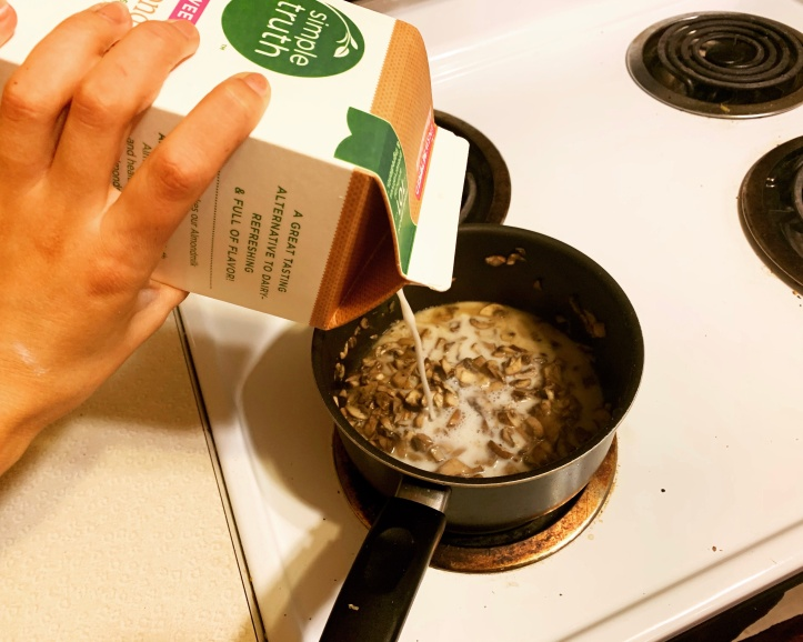 using almond milk in vegan green-bean casserole
