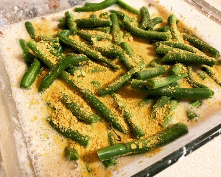 Nutritional yeast in vegan green bean casserole