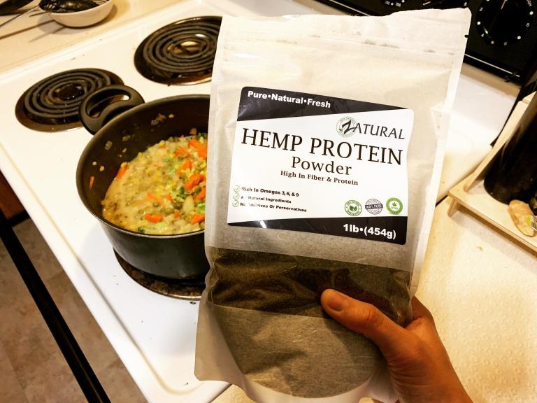 Hemp protein powder to boost your pot pie game.