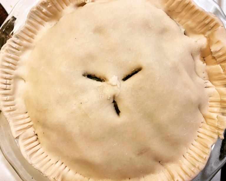 vegan pot pie filling in pie crust
