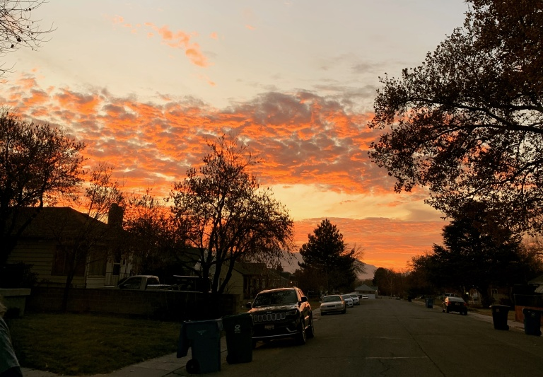 Sunset in a salt lake city neighborhood