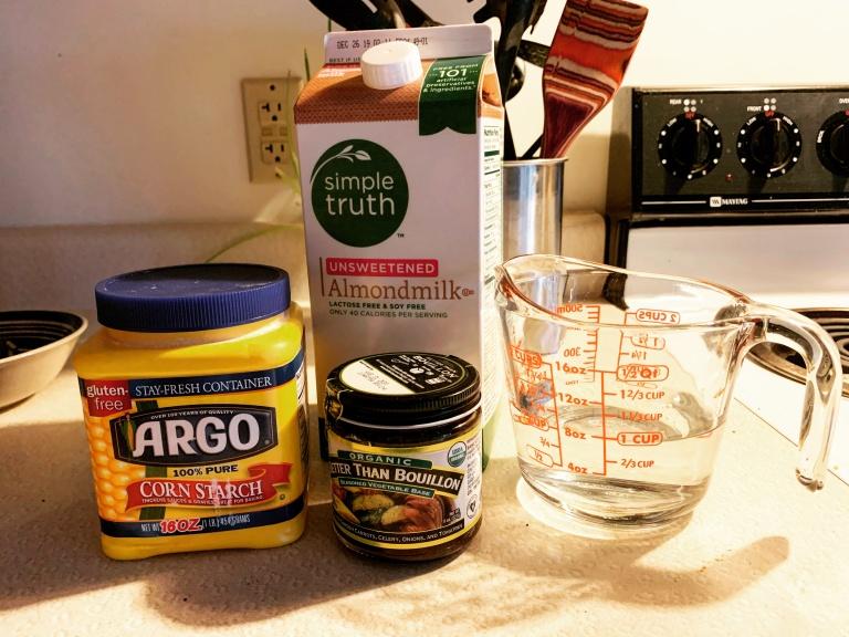 Almond milk, corn starch, Better Than Bouillon veggie, and water to make the Vegan pot pie sauce
