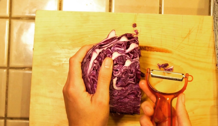 shredded red cabbage for fishless fish tacos