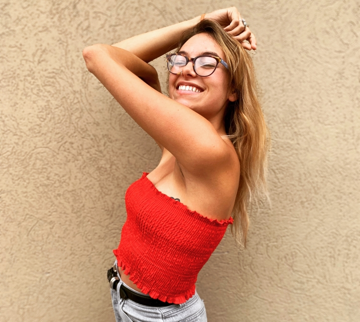 thrifted red tube top from Relovv
