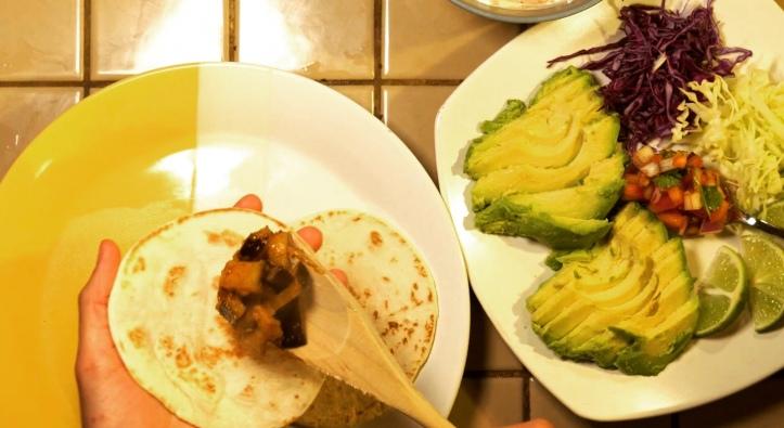 Assembled eggplant fishless fish tacos