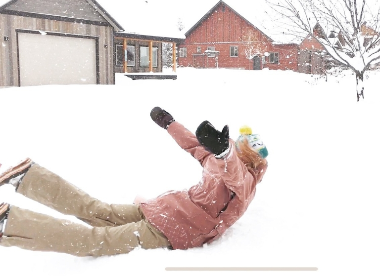 jumping into snow, Driggs Idaho