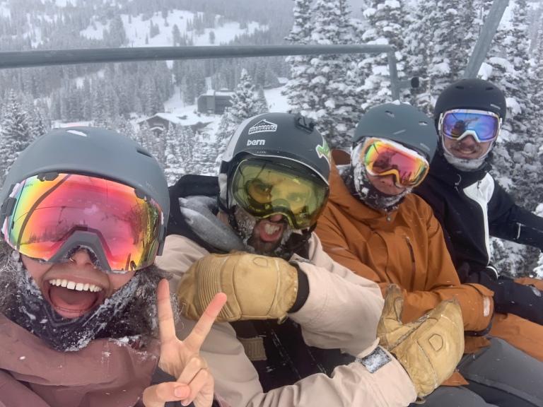 friends in winter at brighton resort, salt lake city utah