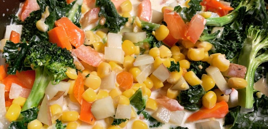 Corn Chowder kale, corn, carrots and potatoes