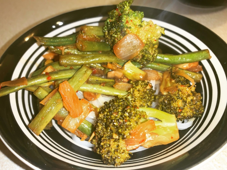 completed Plant-Based Ginger Soy Sauce Glaze With Broccoli and Green Beans
