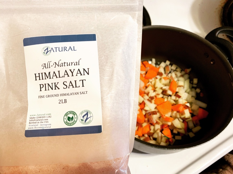 zatural all-natural himalayan pink salt in vegan corn chowder