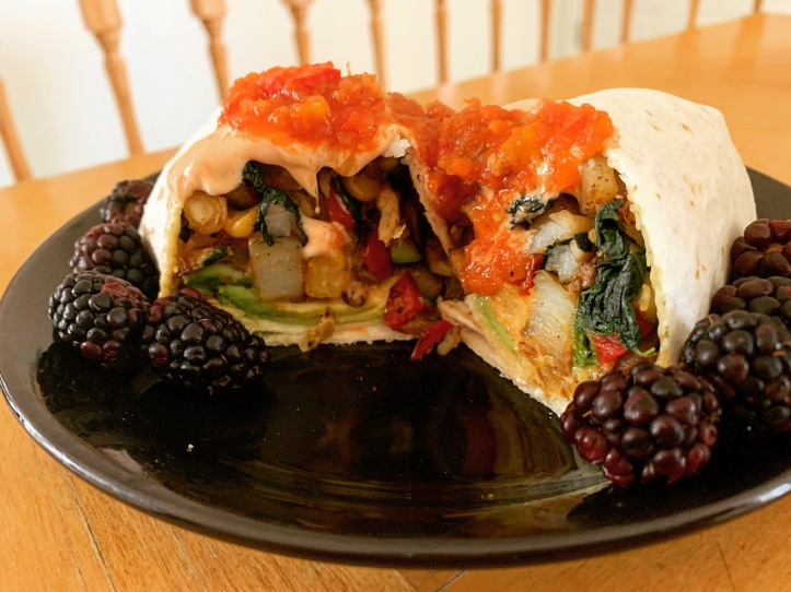 vegan chickpea breakfast burrito