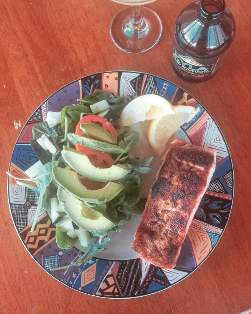 My last non vegetarian meal: Salmon steak with avocado salad