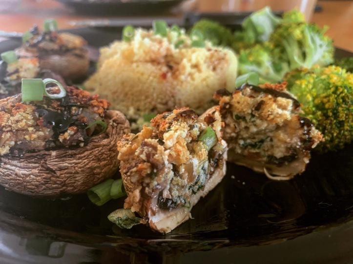 vegan stuffed mushrooms for summer dinnner