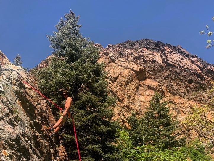 rock climbing in Big Cottonwood canyon, Utah