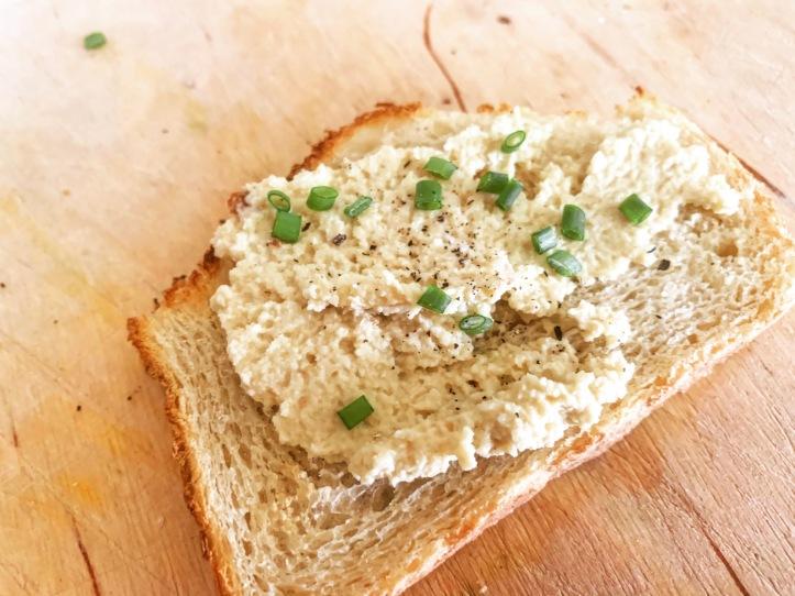 vegan almond spreadable cheese on toast