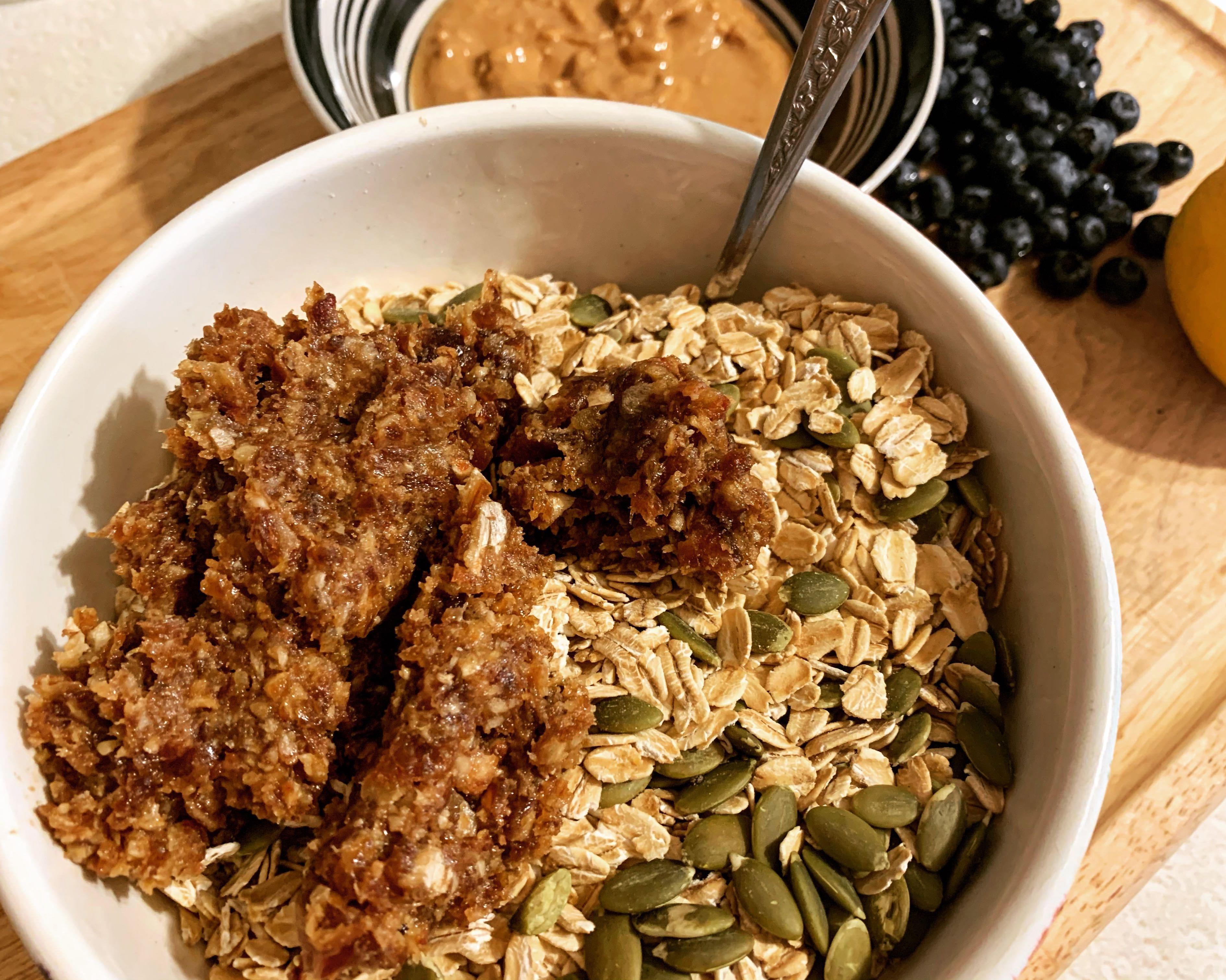 blended dates for blueberry lemon granola bars