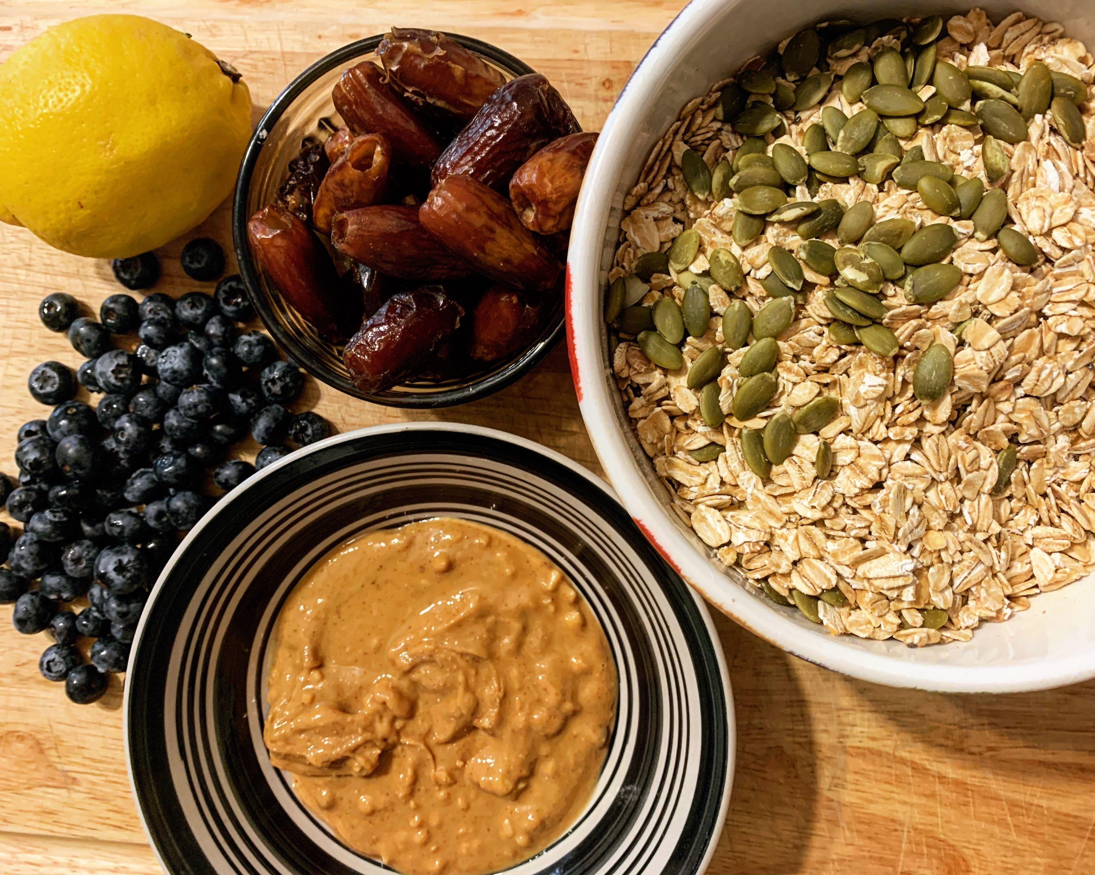 ingredients for lemon blueberry homemade granola bars