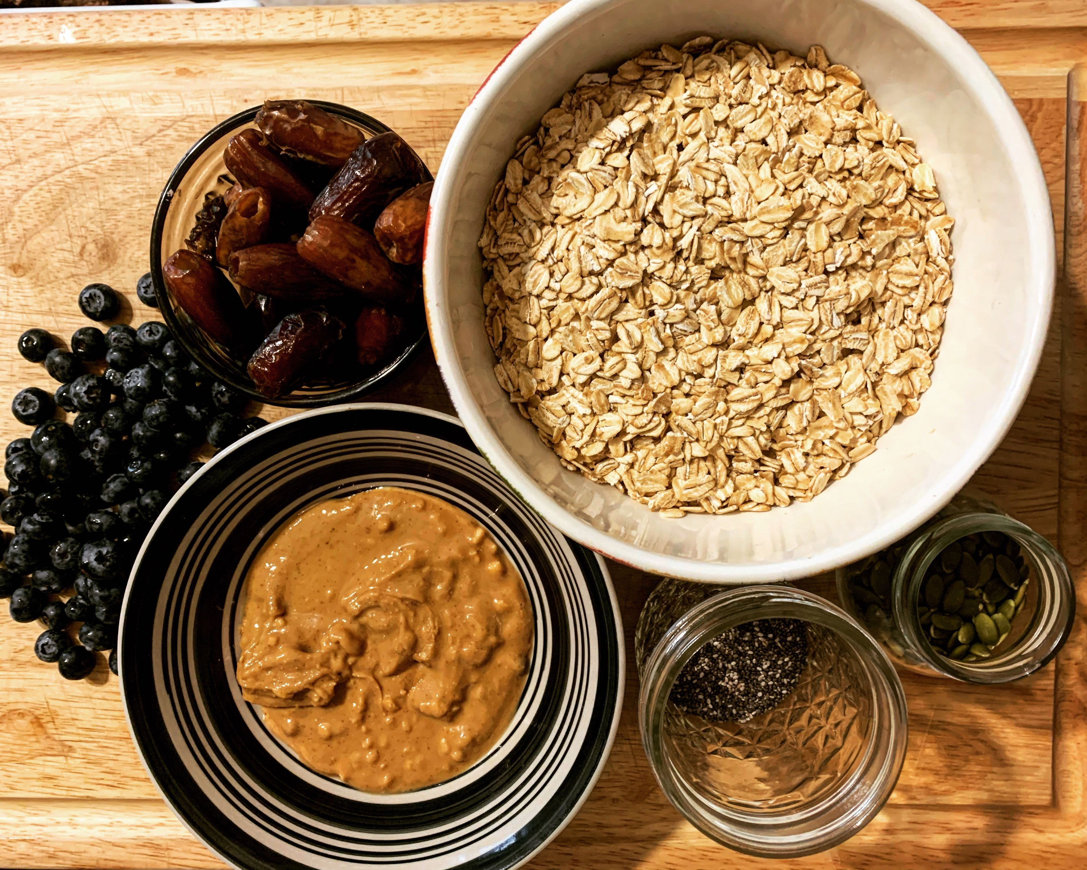 mix-in ingredients for blueberry lemon granola bars