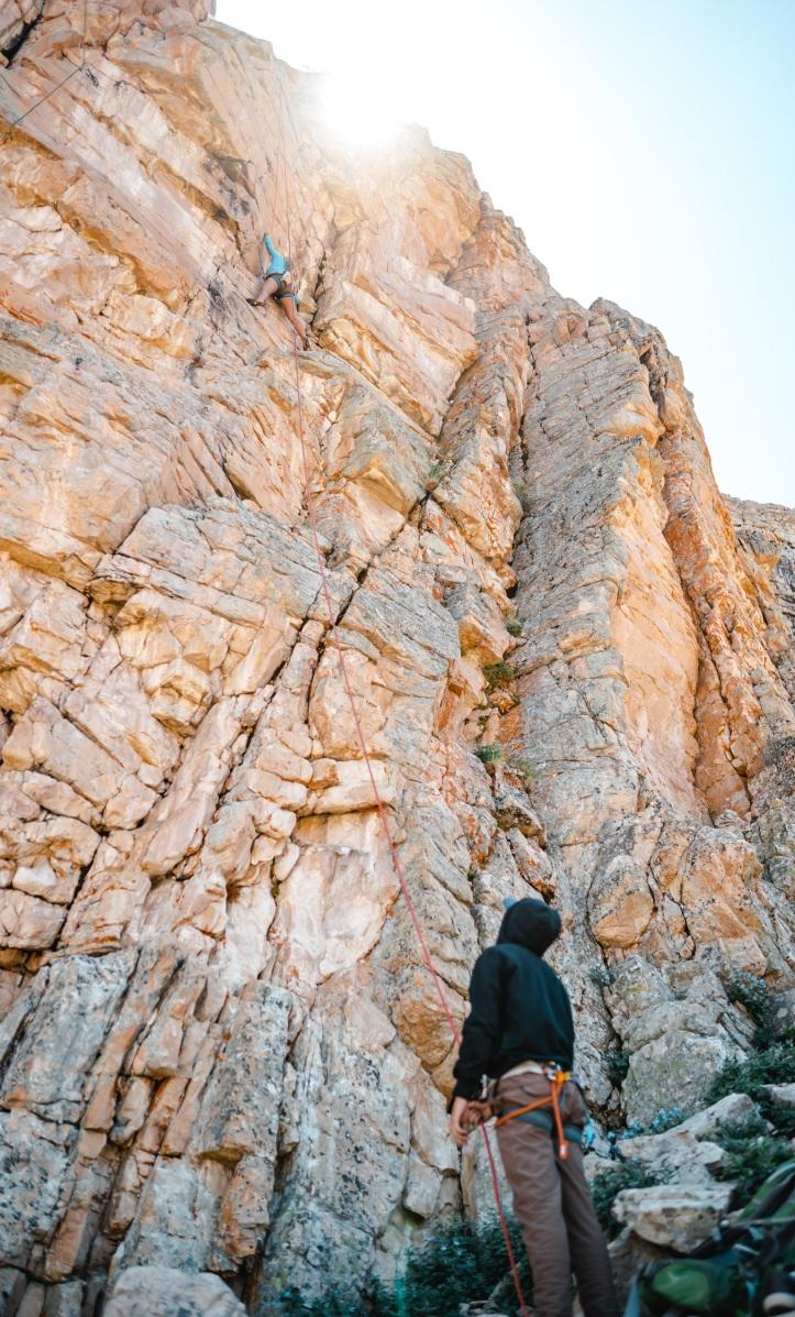 climbing at Chief Wall, Ruth lake