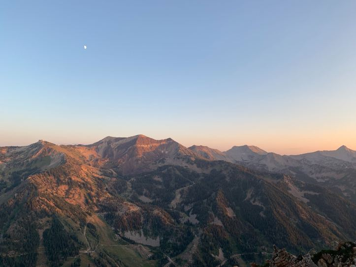 looking at Snowbird Resort from Mount Superior hike