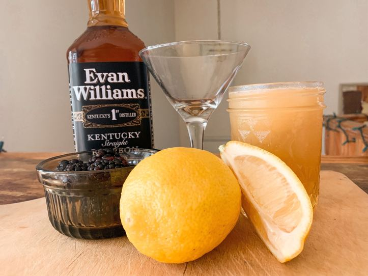 ingredients for blackberry bourbon lemonade - Evan WIlliams, blackberries, lemon,
