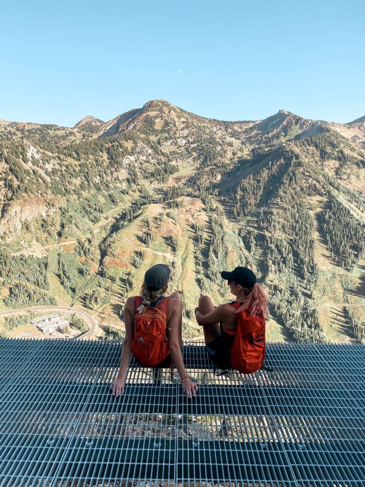metal platform views on Mount Superior Technical scramble hike