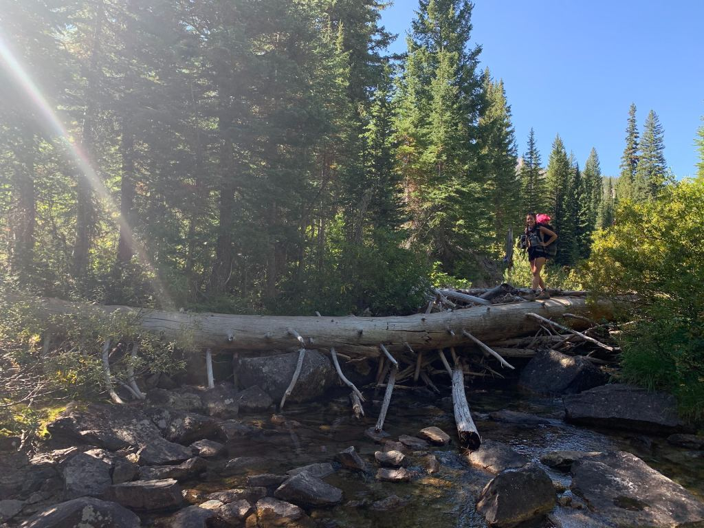 crossing a creek on the Alice Lake trail backpacking in the Sawtooth Mountain, idaho