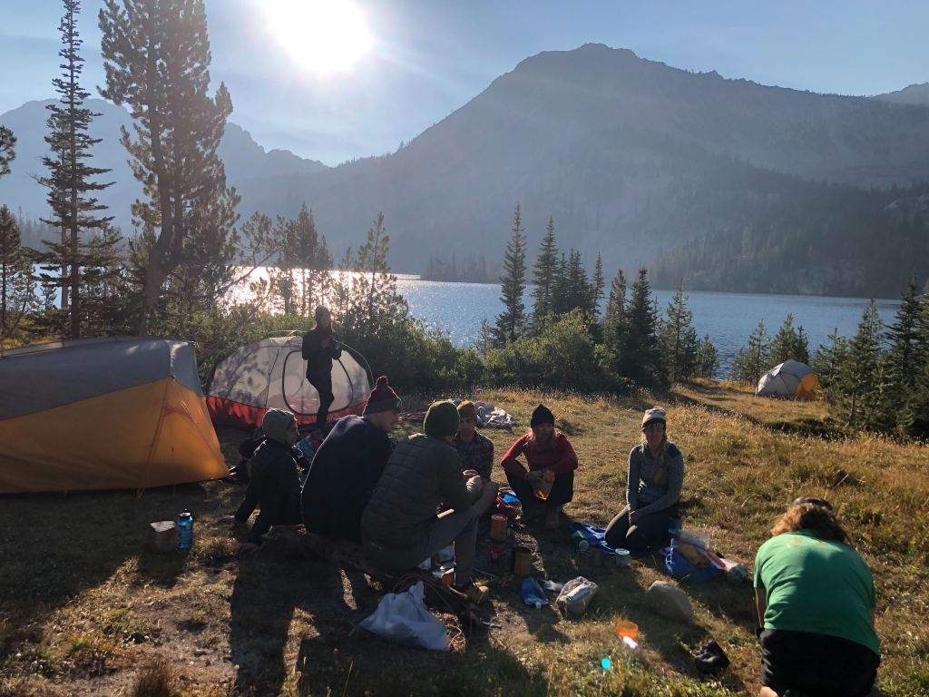 beach side campsite at Toxaway Lake in the Sawtooth Mountains, Idaho