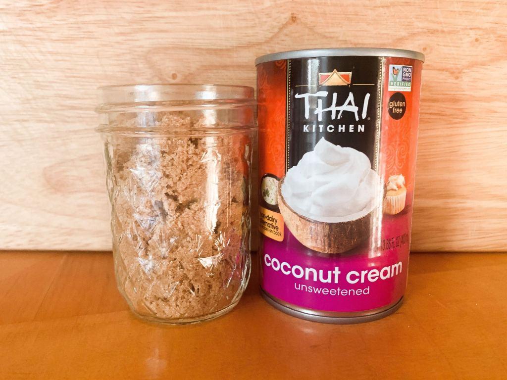 vegan caramel ingredients: coconut cream and brown sugar