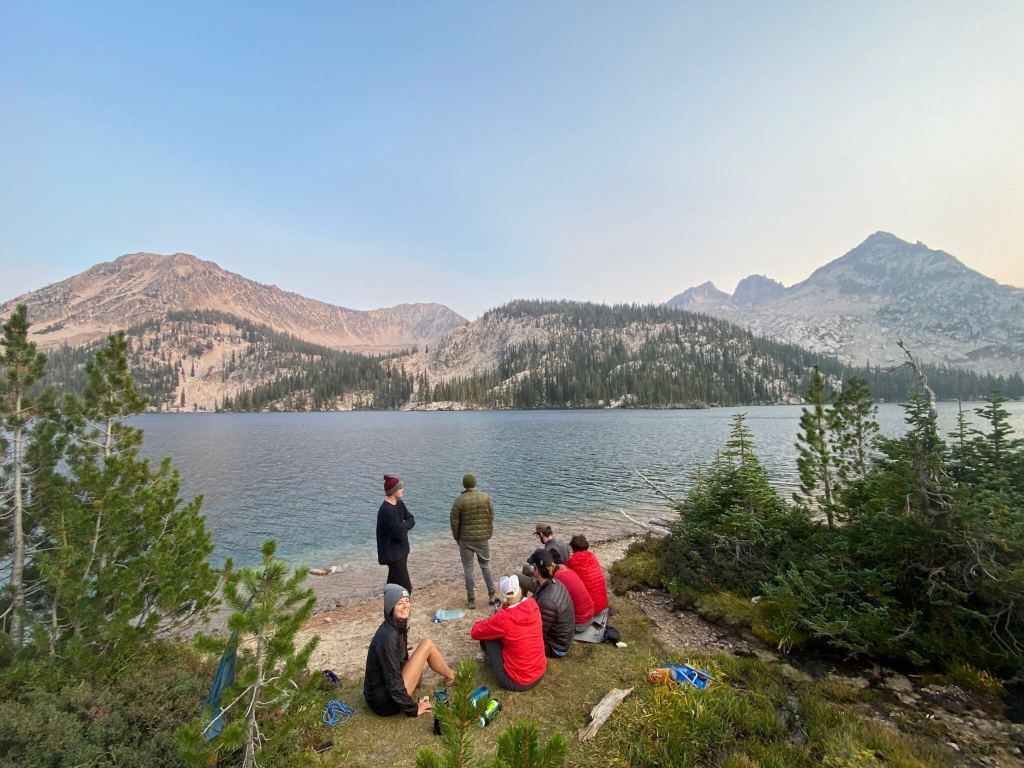 beach hangs at Toxaway Lake in the Sawtooth mountains