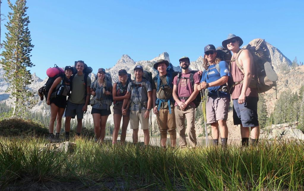 group of hiking friends in the Sawtooth mountains backpacking Toxaway and Alice lakes