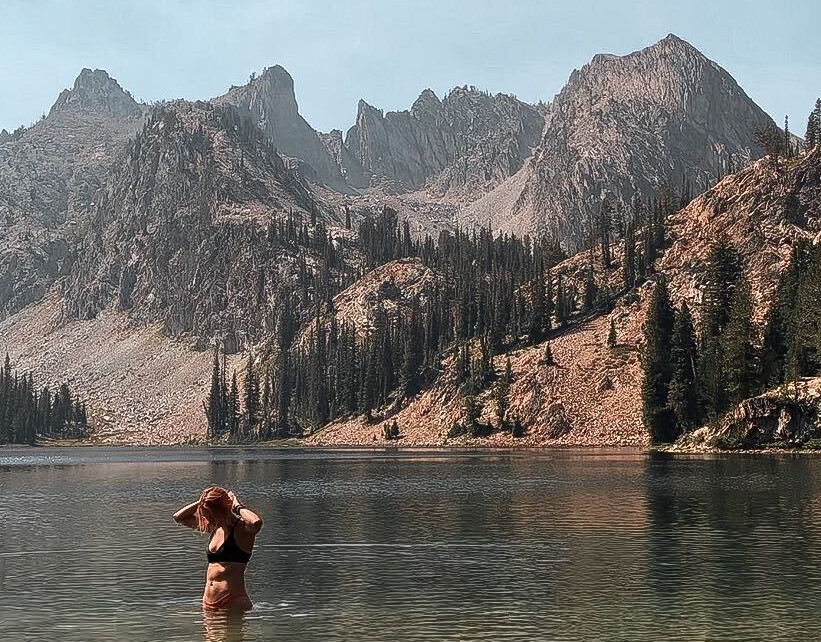 swimming at Alice lake in the Sawtooth Mountains, Idaho