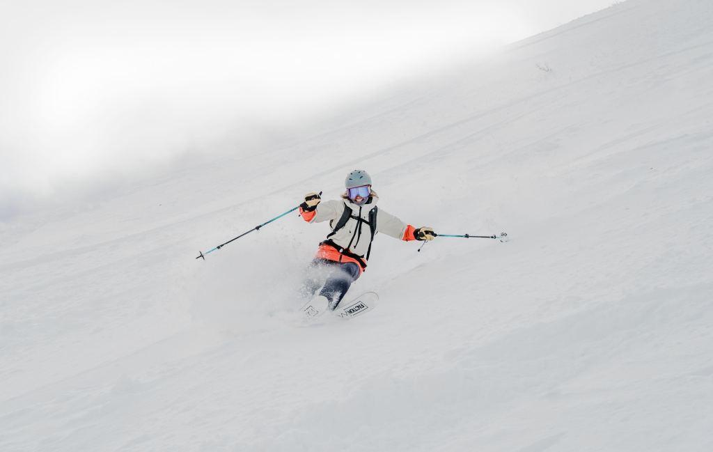 skiing at deer valley utah pre season with baist gloves
