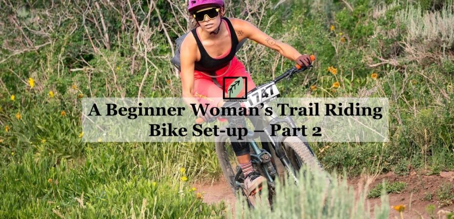 woman's beginner bike trail riding bike set up