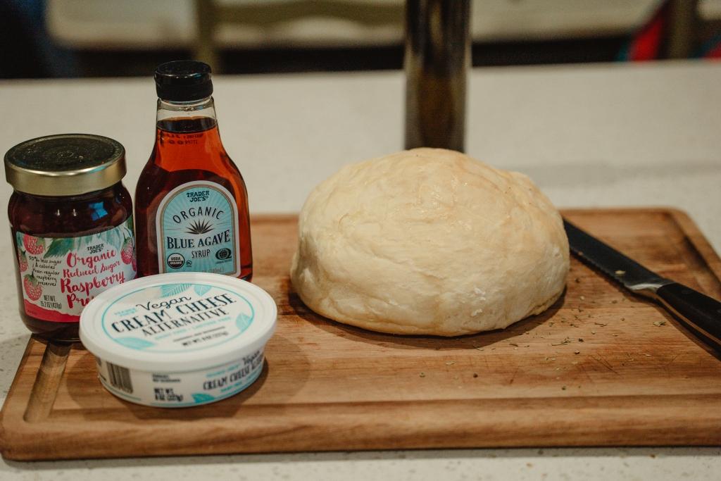 ingredients for raspberry cream cheese vegan toast