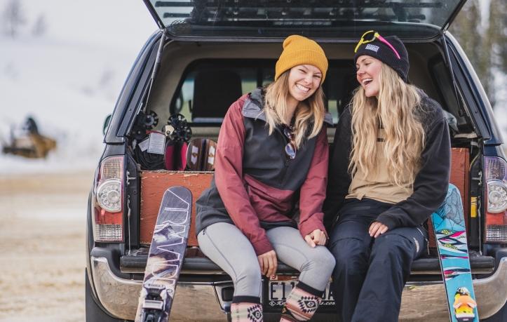 women skiers at powder mountain, utah
